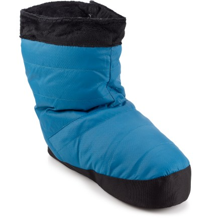 Camp and Hike Wiggle your toes cozily in the women's REI Down booties, featuring duck down insulation to ensure great warmth and easy compressibility. They're perfect for padding around the lodge or at home. - $21.93