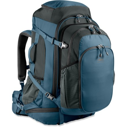 Camp and Hike Sitting squarely at the intersection of comfort and convenience, the REI Grand Tour 80 travel pack has an adjustable women-specific suspension system and a removable daypack. Suspension system features adjustable torso length and padded shoulder straps, waistbelt and back panel shaped for a woman's frame. Main-panel zipper is oriented for easy access to gear while pack is upright. Panel-loading daypack zips on and off main pack easily; daypack's main compartment features 2 interior pockets. Daypack offers an integrated organizer panel, exterior bottle pockets and back panel security pocket; interior neoprene pocket fits most 13 in. laptop computers. Travel pack's main compartment has zippered panel opening with lockable zipper sliders (locks sold separately). Interior compression straps prevent clothes from shifting; exterior compression straps stabilize the load for jostle-free carrying. Zippered bottom compartment on main pack provides extra storage for clothes or gear; adjustable divider creates a sleeping bag compartment. Side mesh pocket on main pack allows additional storage of 1-liter water bottle. Daisy chains on front of main pack and daypack let you clip on extra gear. Shoulder harness adjusts easily to fit those with torso lengths from 15 to 19 in. Side and top handles with foam padding for carrying comfort; D-rings for single shoulder strap compatibility (shoulder strap sold separately). Dual aluminum stays create a frame for support. Daypack volume is 915 cu. in., plus main bag volume of 3,997 cu. in. for a total volume of 4,912 cu. in. Integrated cover protects pack when checked as baggage and doubles as a raincover. REI Grand Tour 80 travel pack is constructed of 420-denier nylon twill for exceptional durability. - $118.93