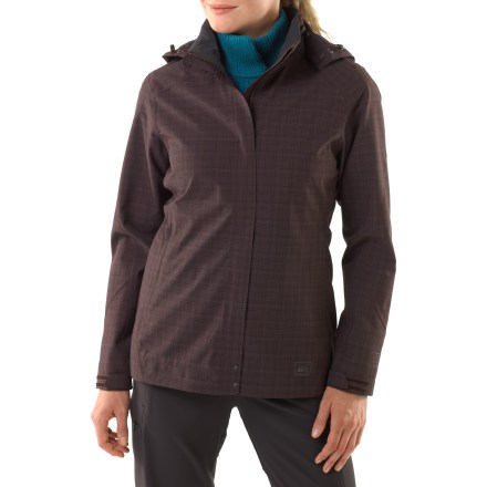 This street-smart jacket is perfect for travels where you need wet-weather protection. The REI Madrona jacket is fully seam sealed and provides wind protection up to 60 mph. Waterproof and breathable, the Madrona jacket offers 2-layer protection from the elements; brushed tricot/taffeta lining is soft and warm and slides easily over clothing. Weather-ready protection includes a zip-off hood, interior and exterior stormflaps over the front zipper, and adjustable rip-and-stick cuffs. 2 zippered handwarmer pockets; interior pockets include a zip pocket with a headphone port and an open mesh pocket sized to hold a map or tickets. Classic fit provides comfort and ease. - $96.93