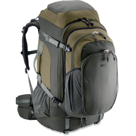 Camp and Hike Sitting squarely at the intersection of comfort and convenience, the REI Grand Tour 85 travel pack has an adjustable suspension system and a removable daypack. - $94.83