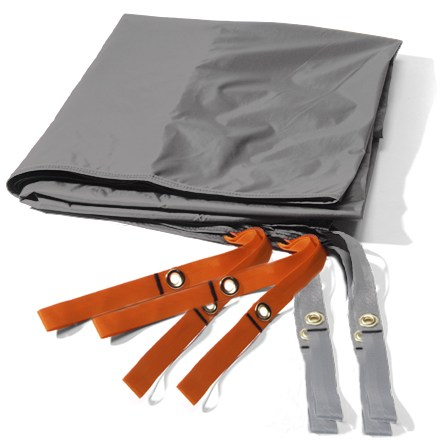 Camp and Hike Use this lightweight nylon tarp under your REI Mountain 3 tent to protect its floor from abrasion and wear. Sized a bit smaller than tent floor to prevent pooling of water between tent and footprint during wet weather. Webbing stake-outs at tent corners provide easy attachment. - $11.83