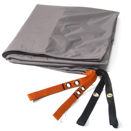 Camp and Hike Use this lightweight nylon tarp under your REI Mountain 2 tent to protect its floor from abrasion and wear. Sized a bit smaller than tent floor to prevent pooling of water between tent and footprint during wet weather. Webbing stake-outs at tent corners provide easy attachment. - $19.93