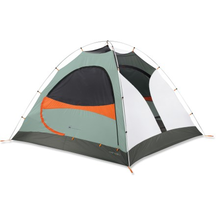 Camp and Hike Ideal for 3-season camping, this 4-person tent is trustworthy and a cinch to pitch. Two doors with awnings provide weather protection, easy access and ventilation. - $163.93