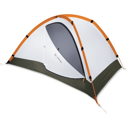Camp and Hike The REI Cirque ASL (All Season Light) 2 tent reflects the classic backpacker layout with side doors and vestibules to maximize livability, access and storage for 2 occupants. Cirque ASL tent also fills the gap between the limited seasonality of ultralight tents and the robustness of 4-season tents. High-strength pole architecture, lightweight materials, fully sealable interior and roomy floor plan combine to create a low-weight, weather-worthy tent. Dual doors and vestibules provide user-friendly entry and exit and personal gear storage. Asymmetrical shape keeps the weight low and allows an efficient use of interior space; plus, it provides nice roominess around the shoulder area. Large, multidiameter DAC Featherlight(R) NSL Combi poles increase interior volume and enhance structural stability. Dual AirLift rainfly vents channel wind to increase tent's strength; fully adjustable, these ceiling vents create cross-flow ventilation that mitigates condensation. Dead End pole sleeves and color coding facilitate a quick setup. Speed-pitching option allows tent and fly to be semi-permanently attached for a quick setup that protects the canopy from precipitation. Cirque can be used in a variety of seasons and climates: inner tent is fully closeable with zippered panels that cover the mesh doors and vents. Hybrid floor combines sealed seams and bathtub curves to create a waterproof, taut floor; tautness enhances door-zipper operation and maximizes volume at end walls. Multiple storage options include corner pockets, roof pockets and hang loops; use door pocket to hold door out of the way or for storage. Shape and position of door zippers allows smooth, 1-handed operation; vestibule's zipper openings align with canopy doors for easy operation, entry and exit. Siliconized 30-denier ripstop nylon fly is lightweight, highly water repellent and tear resistant. - $269.93