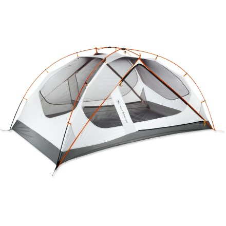 Camp and Hike The new REI Half Dome 2 Plus tent is the extended size version of the popular Half Dome 2 tent. Want a little extra room? This tent is made just for you. Plus sizing provides more room with an extended floor plan; it's 10 in. longer and 4 in. wider than the standard Half Dome 2. REI Half Dome 2 Plus tent is a lightweight, weather-worthy backpacking tent for 2 that maximizes livability, access and storage; and the price is unbeatable! This tent brings together the successful design philosophy that made the original Half Dome so popular and adds insightful technological updates. 2 side doors and 2 vestibules offer easy access and personalized storage for each occupant; 2 vents ensure the tent stays well ventilated. Rectangular floor plan optimizes usable space and allows comfortable sleeping shoulder-to-shoulder or head-to-toe. Color-coded poles and pole clips ensure an easy setup. Frame design combines multidiameter Combi poles and unique dual-hub architecture to create nearly vertical side and end walls; the result is spacious area-wide headroom. DACFeatherlite(R) NSL poles and engineered plastic hubs combine to offer a high-performance pole set that is strong, durable and lightweight. Exclusive Tension Truss architecture leverages bound seams to provide low-weight structural stability and to increase interior volume. Fully adjustable ceiling vents mitigate condensation by drawing cool air under the fly and exhausting warm, moist air. Hybrid floor combines sealed seams and bathtub curves to create a waterproof, taut floor; tautness enhances door-zipper operation and maximizes volume at end walls. Multiple storage options include corner pockets, roof pockets and hang loops. Location and shape of tent door zippers allow smooth, 1-handed operation; use the door pockets to hold doors out of the way or for storage. - $159.93