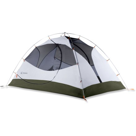 Camp and Hike High in livability and low in cost, the REI Passage 2 is a lightweight, 3-season, 2-person tent that sets up easily and features 2 doors, each with a vestibule, for easy access and ample storage. - $159.00