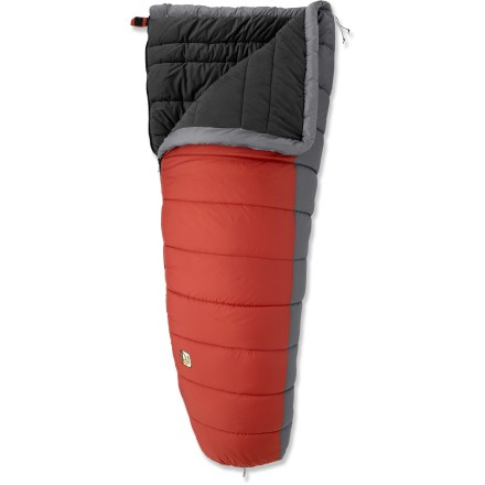 Camp and Hike For warm sleep in the cabin, yurt or tent, the REI Siesta +20degF sleeping bag lets you add cold-weather camping to your to-do list. Barrel shape provides generous interior volume, making it ideal for those who prefer a roomy fit. Hollow-core insulation delivers a balance of compressibility, warmth and durability; continues to insulate when wet and dries quickly. Ripstop nylon shell is abrasion- and tear-resistant for years of use. Shell fabric is treated with a Durable Water Repellent finish to repel moisture and stains. Brushed polyester knit lining offers the softness of your favorite T-shirt with the moisture-wicking properties of a high-tech fabric. Layered offset quilt construction eliminates cold spots. Bag can be used by itself or connected to another REI Siesta sleeping bag via the Comfort Connection Zip to form a double bag. Full side and bottom zipper access; bag can be completely unzipped and opened up for use as a comforter. Zipper is backed by wide, antisnag binding tape. REI Siesta +20degF sleeping bag includes a cotton storage bag. - $74.93