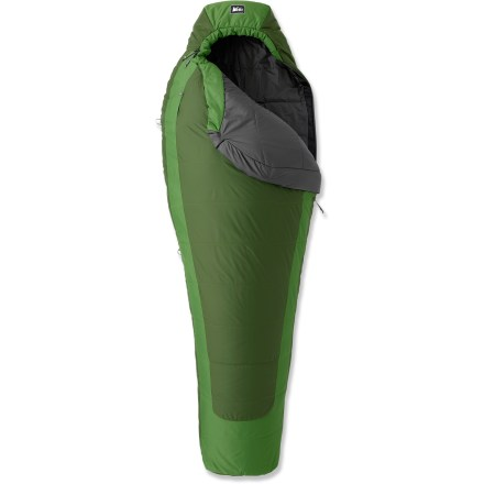 Camp and Hike The warm-weather REI Lumen +40degF synthetic sleeping bag features amazing compressibility and warmth and balances price and performance. Synthetic Thermawave polyester insulation is durable and highly compressible; synthetic polyester fill retains some insulating properties even when wet. Shingle construction with overlapping layers distributes insulation evenly and keeps it from moving around so there are no cold spots. Equally distributed insulation accommodates the multiposition sleeper; mummy shape is thermally efficient, yet roomy enough to ensure sleeping comfort. REI Lumen +40degF sleeping bag has a relaxed fit through the shoulders and hips, giving you room to move for a better night's rest. Ripstop nylon shell fabric has a nice hand feel, and is lightweight, durable, water- and abrasion resistant; nylon taffeta lining is soft and tear-resistant. Shell fabric is treated with a Durable Water Repellent finish to repel moisture and stains. Contoured hood, insulated full-face muffler and full-length zipper draft tube with ground-level seams work together to keep heat in and cold out. REI Lumen +40degF has an external chest pocket to keep small essentials-headlamp, watch, glasses-right at hand and easy to find in the dark. Special pocket in hood can be stuffed with clothing layers to make a pillow that stays in place; no need for a pillow to take up valuable space in your backpack. Pad loops provide attachment points to keep your sleeping bag and pad together to avoid rolling off onto the cold ground (straps and sleeping pad sold separately). Full length zipper is backed by wide, antisnag binding tape. Any REI backpacking bag can be zipped to any other REI backpacking bag because of the consistent 63 in., No. 5, YKK zipper; women's bags zip on the right, men's on the left. - $109.93