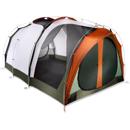 Camp and Hike This tent is a campground palace for a big family or group of 8 or more. A center divider creates 2 large private rooms, or you can roll the fly back to convert one room into an airy, bug-free haven. - $389.93