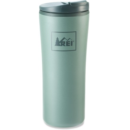 Camp and Hike The 12 fl. oz., double-walled REI Recycled tumbler with flip-top lid keeps your coffee hot on your morning commute. - $4.93