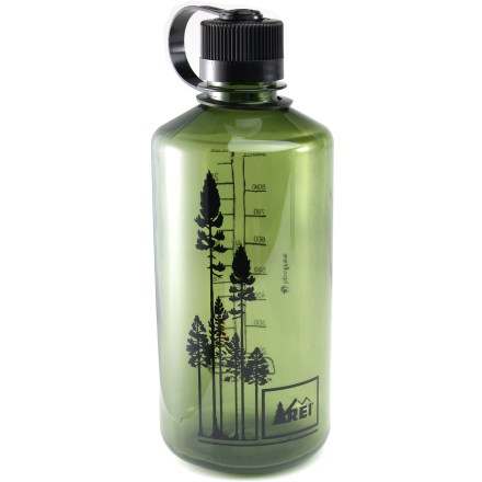 Camp and Hike Choose a bright, cheerful and rugged REI Nalgene Narrow-Mouth Loop-Top water bottle for sipping your favorite beverages on the go. Made of Eastman Tritan(TM) copolyester, the bottle is completely BPA-free and is dishwasher safe (top rack only). Tritan copolyester provides excellent impact resistance and is suitable for both warm and cold beverages. Convenient loop-top design means you'll never lose the lid. Narrow mouth is easy to drink from. REI Nalgene Narrow-Mouth Loop-Top water bottle is marked with milliliters and fluid ounces for easy measurement. - $9.95