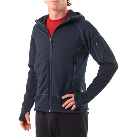 Camp and Hike The sleek lines and hard face of the performance-oriented REI Rauk jacket are perfect for highly active outdoor pursuits. Typically, it's all you'll need on most excursions. Contoured, close-to-the-body fit makes the Rauk a great insulating layer underneath a waterproof shell. Polartec(R) Wind Pro(R) Hardface fleece stays warm even when damp, features comfortable 4-way stretch and a Durable Water Repellent finish to shed moisture. Durable, wear-resistant face stands up to active use; windproof to 9 mph. Hood slips on and off easily, has side vents that fit earphones and fits underneath your climbing helmet. Full-length interior storm guard; chin guard protects from zipper abrasion. Drawcord hem and cuff thumbholes extend warmth and coverage. Zip hand and sleeve pockets stay clear of pack straps, so they are easily accessed; features interior drop-in mesh pockets. REI Rauk jacket has a tapered fit and contoured construction that moves with you. - $63.83