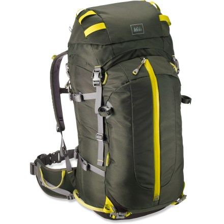 Climbing The REI Pinnacle 50 pack is ideal for overnight ascents and winter activities in the mountains. Its beefy suspension and solid design handle alpine gear with ease. Removable hipbelt and framesheet let you strip down the pack to save weight and match the needs of your adventure. Perforated shoulder strap foam allows body vapor to pass through and evaporate; molded foam back panel handles abuse and delivers comfort. Top-loading design features a floating top lid and collar closure; side-zip access allows easy retrieval of items buried deep in the pack. Internal gear loops make it easy to rack and sort climbing gear; lash points let you secure bulky gear to the pack's exterior. Hydration sleeve accommodates a reservoir (sold separately); tube port lets you route the bite valve over either shoulder. Burly front pocket stores crampons and a jacket. Wand pocket is generously sized to also store small items like gloves and hats; exterior zippered pocket also keeps small items handy. Dedicated ski-tail loops and cam-lock buckles securely hold skis. Snow-specific buckles work well with gloves and won't clog with snow. - $78.83