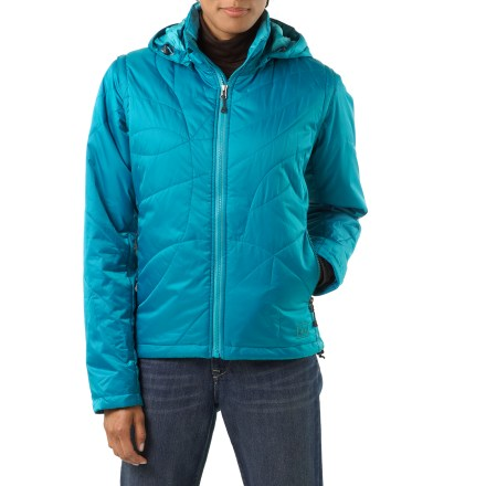 Entertainment The REI Nevis women's jacket is a story in versatility. On a cold morning, start off with the full jacket, then, as the day warms, remove the hood and sleeves and use it as a core-warming vest. Nevis works well as a stand-alone jacket or vest in dry conditions and layers easily underneath a shell in wet weather; plus, the stylish quilt patterning always looks great. Pertex(R) Microlight Eco ripstop nylon shell and lining are lightweight and durable, and offer silky softness that enhances the insulation's loft; windproof to 50 mph. Insulated with high-performance, water-resistant PrimaLoft(R) Eco synthetic microfiber to provide soft, non-bulky warmth for very little weight. Hypoallergenic Eco fibers come from recycled plastic bottles. Sleeves zip off to convert jacket to a vest, and fully adjustable hood zips off to save weight. Keep track of the hood and sleeves by stashing them inside the interior zip lumbar pocket; this pocket also double as a stuff sack and makes a nice pillow in a pinch. Windflap backs front zipper; chin guard protects against zipper abrasion. Features a hem drawcord; stretch inner cuffs reduce wind entry. REI Nevis jacket features zip handwarmer pockets and a zippered interior pocket with headphone port. Nevis is trim fitting yet allows full range of motion. - $117.93