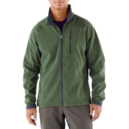 Camp and Hike Count on the REI Windbrake Thermal jacket to provide shiver-free descents. This is the warmest, wind-blocking REI-brand fleece. Breathable, non-bulky heavyweight polyester fleece jacket has a highly abrasion-resistant face, a wind-resistant laminate and a gridded fleece backing; blocks wind to 50 mph. REI Windbrake Thermal jacket insulates even when damp, dries fast and has a Durable Water Repellent finish to shed moisture. Windflap behind front zipper, a drawcord hem and abrasion-resistant, adjustable cuffs enhance weather protection. Zip hand pockets and zip chest pocket; 2 mesh interior drop-in pockets. Active fit provides for a full range of motion; flat non-chafing seams and articulated sleeves let you move comfortably and layer easily. - $61.93