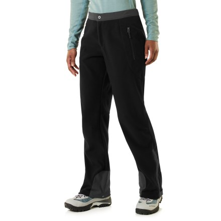 Count on the REI Windbrake Thermal pants to provide insulative, wind-resistant warmth. They feature a smooth, low-bulk cut through the body and legs, especially nice when being used as a mid layer. Breathable, non-bulky heavyweight polyester fleece has a highly abrasion-resistant face, a wind-resistant laminate and a gridded fleece backing; it blocks wind to 50 mph. REI Windbrake Thermal pants insulate even when damp, dry quickly and have a Durable Water Repellent finish to shed moisture. Waistband is made from woven fabric lined with brushed tricot to ensure a comfortable fit without bulkiness; internal drawcord and hook-and-eye waist closure. Zip fly with snap closure. Gusseted cuffs feature ankle zippers and rip-and-stick closures to accommodate a variety of footwear; double-weave fabric at cuffs enhances durability. 2 hand pockets with auto-locking zippers ensure secure closure. Articulated knees minimize bulkiness and mazimize mobility. REI Windbrake Thermal pants feature a comfortable mid rise. - $89.50