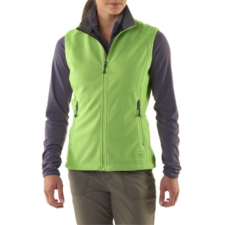 Camp and Hike Count on the REI Windbrake Thermal vest to provide shiver-free core protection to help get you through late-autumn hikes. Our most windproof fleece, it's been updated with new, sporty style lines. Breathable, non-bulky, heavyweight polyester fleece vest has a highly abrasion-resistant face, a wind-resistant laminate and a gridded fleece backing; blocks wind to 50 mph. REI Windbrake Thermal vest insulates even when damp, dries fast and has a Durable Water Repellent finish to shed moisture. Windflap behind front zipper and a drawcord hem add weather protection. Zip hand pockets and 2 mesh interior drop-in pockets. Active fit provides for a full range of motion; flat non-chafing seams let you move easily and layer comfortably. - $69.50
