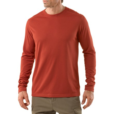 Camp and Hike The REI Sahara Long-Sleeve T-shirt layers well with other shirts and is suitable for just about any activity, from leisurely strolls to long days on sun-baked trails. Polyester fabric has a soft cottonlike feel and is designed to draw moisture off of skin; fabric dries quickly. With a UPF 15 rating, fabric provides good protection against harmful ultraviolet rays. Rolled-forward shoulder seams enhance comfort while wearing a pack. The REI Sahara Long-Sleeve T-shirt has a classic fit that's cut just right for easy wearing. - $14.83