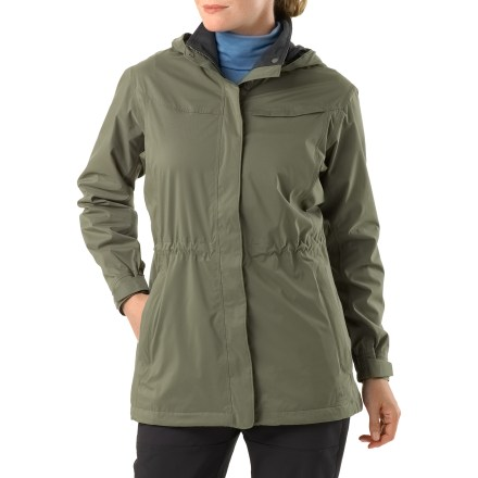 The REI Belltown jacket brings trail-ready rain protection to the city. It's fully seam-sealed, waterproof and breathable and soft to the touch. Sudden downpour? No problem. Built with a relaxed fit and parka-length coverage, the REI Belltown is a jacket you can rely on. Made from waterproof and breathable 2-layer REI Elements(R) nylon fabric with a wicking mesh and taffeta lining; all seams are sealed for complete protection. Windproof to 60 mph. Attached hood with side and rear adjustments preserve vision. 2-way front zip offers venting and fit options; center front placket features a smart 1-hand snapping system. Drawcord at waist and hem; adjustable cuffs dial the fit. Includes zip hand pockets and low-profile zip chest pocket; interior pocket has a headphone cord port. Classic fit provides comfort and ease. - $139.00