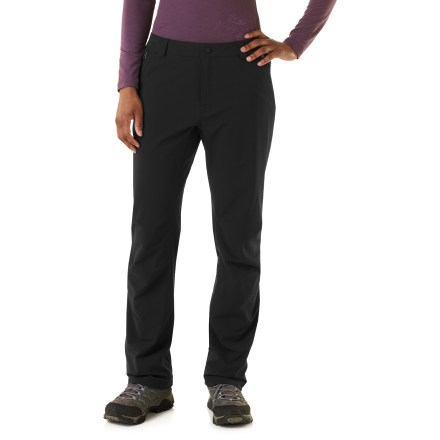 Camp and Hike The REI Mistral women's pants are sleek and multipurpose soft shells. Have them on hand for late-autumn hikes when the days turn cool and wet. - $78.93
