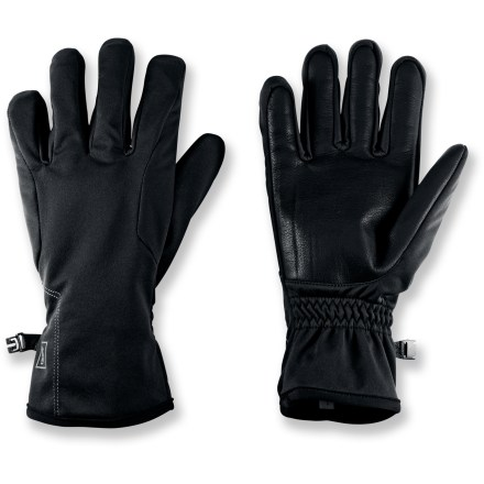 Ski The REI One gloves keep hands warm and provide excellent dexterity during winter walks, runs and cross-country ski outings. Soft-shell construction provides stretch and wind- and water resistance to keep hands warm and dry. REI One gloves feature leather palms for durability, grip and excellent dexterity. Elastic at the wrists helps seal out wind and snow. - $24.93