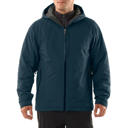 Whether you're out for a day of riding in the backcountry or a day of trekking on snow-covered trails, the technically savvy REI Salix jacket wraps you in a cocoon of dry warmth. REI Elements(R) protection: seam-sealed, 2-layer ripstop nylon shell is waterproof, breathable, and windproof to 60 mph. Insulated with high-performance, water-resistant PrimaLoft(R) Eco synthetic microfiber to provide soft, non-bulky warmth for very little weight; it insulates when damp, too. Hypoallergenic Eco fibers come from recycled plastic bottles. Fully adjustable hood offers good peripheral vision; hood edges are lined with brushed tricot. Pit zips offer ventilation control; articulated elbows and raglan sleeves enhance ease of motion and minimize jacket lift when arms are raised. Stormflap backs weather-resistant front zipper; chin guard protects from zipper abrasion. Gusseted cuffs adjust via rip-and-stick tabs; 1-hand-adjustable drawcord hem. Features 3 exterior pockets with weather-resistant zippers; interior has small open mesh pocket and a zip flash pocket with headphone port. REI Salix jacket is trim fitting and allows a full range of motion. - $199.00