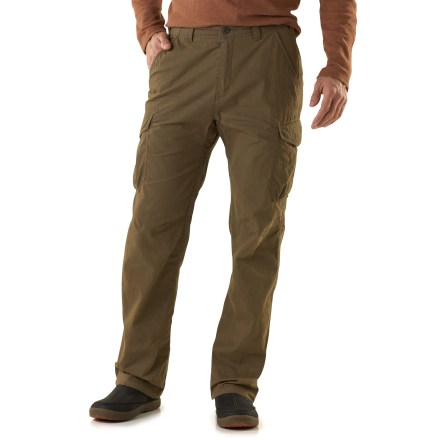 The 30 in. inseam REI Thetford Cargo pants have pockets for everything you'll need to enjoy a day of urban exploring. Cotton/nylon midweight blend fabric stands up to regular wear yet has a soft hand for great comfort; fabric wicks moisture and dries fast. With a UPF 50+ rating, fabric provides excellent protection against harmful ultraviolet rays. Side cargo pockets provide ample space for your urban essentials; 2 hand pockets and 2 rear pockets provide additional storage. Hand pockets are designed to keep items from sliding out when you sit. Drawstrings at the waist and cuffs help you fine-tune the fit. Center gusset eases movement. REI Thetford Cargo pants have a relaxed that fit allows comfort and freedom of movement. - $34.83