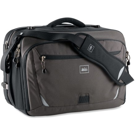 Entertainment The REI Quantum Checkpoint brief offers stylish new solutions for your fast-paced world, wrapped in an airport security checkpoint-friendly package. Carries up to a 17 in. laptop computer in a fully padded laptop pocket. Designed to be TSA Checkpoint friendly, the brief opens flat by opening 2 buckles; allows laptop to remain inside and protected during security screening. Offers a modular design with separate office gear and computer carry compartments; both sides can be used independently or together. 100% post-consumer recycled PET fabrics are tough enough to withstand the urban grind and soft enough to feel good doing it. Slides over wheeled luggage pull handles for secure attachment underway, getting you through the airport smoothly and easily. Removable strap offers sliding shoulder pad and easy length adjustment; padded carry handle with soft edges provides comfortable grip. Includes internal organizer panel with multiple pockets for pens, electronics and small essentials; exterior pocket fits travel documents, tickets and boarding passes. Stretch mesh side pocket carries small essentials for easy access, or a 1-liter water bottle. Reflective trim creates great visibility for active commuters; webbing loop provides reliable attachment point for LED blinking light (sold separately). - $68.93