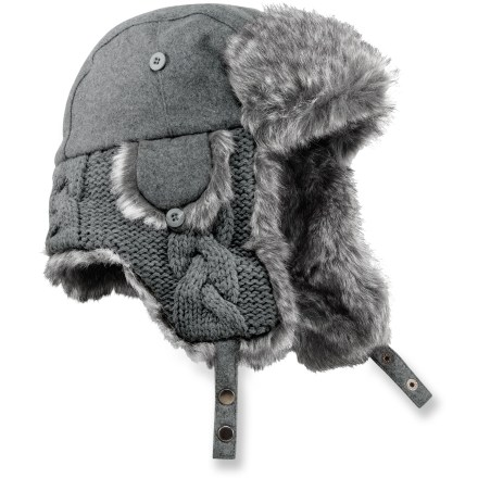 Entertainment When the Northern winds blow, you don't want just any hat on your head. The REI Knit Aviator Hat will keep you warm and give you a great new look. Polyester/wool exterior combines with knit acrylic earflaps for a stylish look. Polyester lining in the crown has a soft feel, and it enhances warmth and wicks moisture away from your brow. Chin and earflaps are lined with silky soft faux fur for next-to-skin comfort. REI Knit Aviator Hat features polyester-insulated earflaps that offer protection from harsh winds; secure flaps around your chin or atop your head. - $23.93