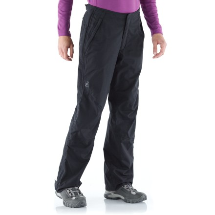 Camp and Hike The REI Alpine Lakes women's pants are all-purpose waterproof, breathable pants made for backpacking and hiking. They'll also work in a pinch for mountain biking or skiing. 2-layer REI Elements(R) laminated nylon fabric offers waterproof, breathable protection; mesh and taffeta linings are strategically placed to aid breathability and comfort. Fabric is windproof to 60 mph and has a textured face and a soft, quiet hand. Back elastic waist and side rip-and-stick tabs comfortably adjust the fit; features a zipper fly and snap closure. Full-length side zippers offer ventilation control and easy removal of pants over footwear; double stormflaps enhance the weatherproofness of the Alpine Lakes pants. 2-snap tabs at cuff bottoms adjust the fit. Alpine Lakes pants feature 2 zip hand pockets and 1 zip back pocket. Articulated knees allow comfortable range of motion with no tugging. Classic rise hits just below the belly button; classic fit is just right for easy wearing. - $99.50