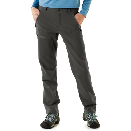 Camp and Hike The REI Acme women's soft -shell pants perform in cold weather. They provide a great microclimate for movement-intensive outdoor sports. - $41.83