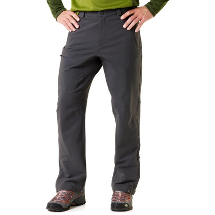 "Camp and Hike The men's REI Acme soft -shell pants with a 32 in. inseam perform in cold weather. They provide a great microclimate for movement-intensive outdoor sports. Acme pants thrive in all conditions except for high heat and humidity; think late-autumn hiking, mountain biking, mountaineering and backcountry skiing and packing. Schoeller(R) Dryskin fabric offers excellent breathability, minimizing sweaty buildup during sustained vigorous activity. It also provides great water- and abrasion-resistance and 4-way stretch comfort; windproof to 16 mph. Zip fly, snap front and belt loops let pants double as urban wear. Crotch gusset allows unlimited range of motion and articulated knees maximize mobility and minimize bulkiness; flat seams eliminate chafing. Gusseted ankle zippers let cuffs slide over footwear and ""gaiter"" grommets let you secure them with a cord; narrow, bonded rip-and-stick tabs adjust cuffs. Sleek, reverse-coil welded zippers on hand and thigh pockets; 2 rear zip welt pockets. REI Acme pant's have an easy, classic fit. - $117.93"