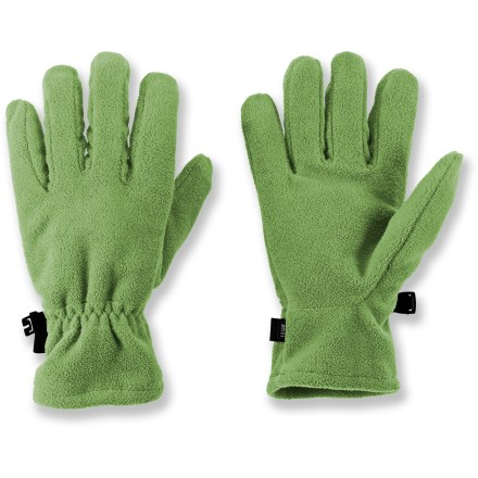 Ski The Microfleece gloves from REI go on easy and offers lightweight warmth. Non-pilling polyester microfleece has a lightly brushed surface that traps and retains body heat. Special buy. - $8.83