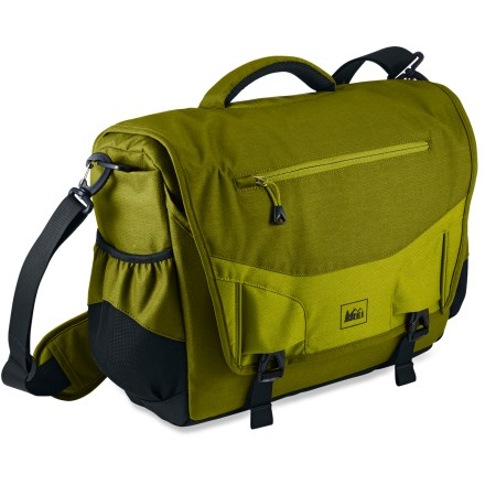 Entertainment Urban organization and outdoor attitude! The REI Transit shoulder bag is sized and featured to meet all the challenges of the daily urban grind, and adds outdoor-inspired details to make hauling easy. Messenger bag styling; main flap has hidden security zipper closure in addition to rip-and-stick and buckle closures for quick access. Easy access organizer panel under front flap has pen slots, a fleece-lined phone pocket and additional slot pockets for small essentials. Sleek neoprene sleeve provides protection for laptop computers; sized to fit 15 in. and 16 in. laptops. Exterior zipper provides quick access to the laptop compartment. Side pockets can stretch to vary capacity, providing a convenient place to stash a water bottle or allow quick access to small essentials. Carry handle is padded with soft edge design for a comfortable grip. Durable ballistic nylon bottom panel and foam padding protect interior contents. Removable shoulder strap offers sliding shoulder pad; length is easy to adjust. Front flap has zippered pocket for quick access to small items. - $62.93