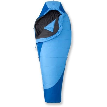 Camp and Hike The women's REI Divine warm-weather backpacking synthetic sleeping bag features amazing compressibility and warmth while balancing price and performance. Women-specific bags are cut to match a woman's shape, and provide extra insulation for warmth. Tested by an independent third-party lab using European Norm protocol, the EN temperature ratings allow direct comparisons across brands with other EN-rated bags. Synthetic Thermawave polyester insulation is durable and highly compressible; synthetic polyester fill retains some insulating properties even when wet. 60% of insulation is put on top of bag where it contributes the most warmth and loft. Relaxed fit through the shoulders and hips gives you room to move for a better night's rest. Mummy shape is thermally efficient, yet roomy enough to ensure sleeping comfort. Ripstop polyester shell fabric has a nice hand feel and is lightweight, durable, andwater- and abrasion-resistant; nylon taffeta lining is soft and tear-resistant. Shell fabric is treated with a Durable Water Repellent finish for water resistance and quick drying. Contoured hood, insulated full-face muffler, puffy interior yoke, roomy footbox and full-length-zipper draft tube with ground-level seams all work to keep heat in and cold out. External chest pocket keeps small essentials-headlamp, watch, glasses-right at hand and easy to find in the dark. Special pocket in hood can be stuffed with clothing layers to make a pillow that stays in place; no need for a pillow to take up valuable space in your backpack. Pad loops provide attachment points to keep your sleeping bag and pad together, so you needn't worry about rolling onto the cold ground (straps sold separately). Full-length zipper is backed by wide, antisnag binding tape. Differentiated drawcords (1 round, 1 flat) allow quick identification, even in the dark, so neck and hood adjustments are a cinch. - $82.83