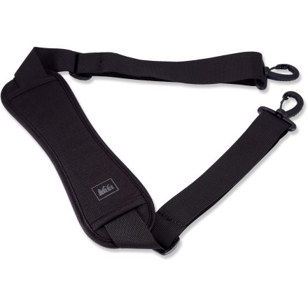 Entertainment For more comfortable and convenient carrying, add this shoulder strap from REI to your duffle or travel bag. - $11.50