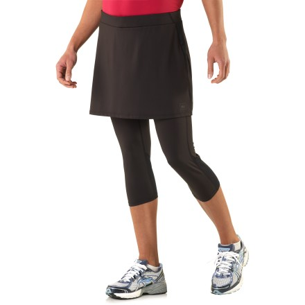 Fitness Fun and sporty, the REI Fleet Skapris (skirt with capris) combine the coverage of a skirt with the sleek performance of your favorite workout capris. Polyester fabric is moisture-wicking and dries fast, so you stay comfortable no matter the temperature. Built-in capris wick moisture away from body to keep you comfortable and feature mesh panels behind knees to boost ventilation. Mesh panel along back yoke increases ventilation. Fabric provides UPF 50+ protection from harmful solar rays. Elastic waistband with drawcord ensures a comfortable fit. Zippered lumbar pocket stashes valuables. Skirt features a 14.5 in. outseam. The REI Fleet skirt with capris feature an active fit that offers a full range of motion. - $59.50