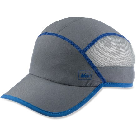Sports On long, challenging days on the trail, the women's REI Venturi cap keeps you comfortable and going strong. Stretchy polyester/spandex fabric blend gives the hat a close, comfortable fit. Polyester mesh sides dissipate heat and circulate fresh air. Soft polyester front lining wicks moisture off your brow. Ponytail port in back improves the fit for women with long hair. REI Venturi cap has a 2.75 in. brim that shields your face from sun and rain. - $10.83