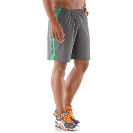 Fitness The active fit and comfortable features of the REI Fleet running shorts will help you reach your fitness goals. Quick-drying and lightweight fabric delivers 4-way stretch and an extremely soft feel against skin. Fabric provides UPF 50+ sun protection, shielding skin from harmful ultraviolet rays. Stretchy crepe liner briefs wick moisture away from body to keep you comfortable; fabric in liner shorts is recycled. Elastic waistband with drawcord fine-tunes the fit, and mesh waistband minimizes chafing and enhances dryness. 2 side pockets shelter hands, a sweat-resistant double lumbar pocket secures accessories with a zipper and stores nutrition with a mesh drop-in pocket. Internal pocket stores a key. Reflective highlights increase visibility in low light. The REI Fleet running shorts offer an active fit that supplies a full range of motion. - $26.93