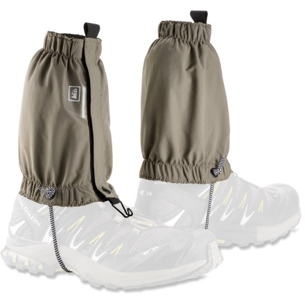 Camp and Hike The low-cut REI Desert gaiters ensure protection from debris while you hike, trek or run in the heat of summer. Designed to fit trail-running shoes, light hiking boots and outdoor cross-training shoes. Lightweight, breathable nylon fabric has a soft, supple hand. Fabric provides UPF 30 sun protection, shielding skin from harmful ultraviolet rays. Overlapping rip-and-stick front closures allow quick, easy adjustments. Elastic at top and bottom openings provides a comfortable, flexible fit. REI Desert gaiters have lace hooks and instep cords to secure the gaiters in place. - $12.83