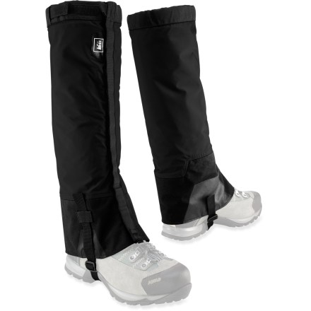 Camp and Hike The REI Mountain Light gaiters keep snow and water out of your boots so you can plunge step your way down a snowy slope and stomp in puddles on the trail. Gaiters feature eVent(TM) waterproof, breathable uppers to keep rain and snow out while allowing sweat vapor to escape to the outside of the fabric. Include Cordura(R) nylon lowers with scuff guards to resist abrasion. Front and top openings with rip-and-stick closures combine with lace hooks and webbing instep straps to fit different leg shapes and footwear types. REI Mountain Light gaiters come with a mesh stuff sack for packing and storing. - $54.50
