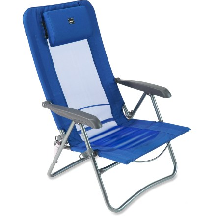 Camp and Hike The portable REI Comfort Low Armchair sits low to the ground and features multiple reclining positions for comfort at the beach, campground and outdoor concert. - $34.93