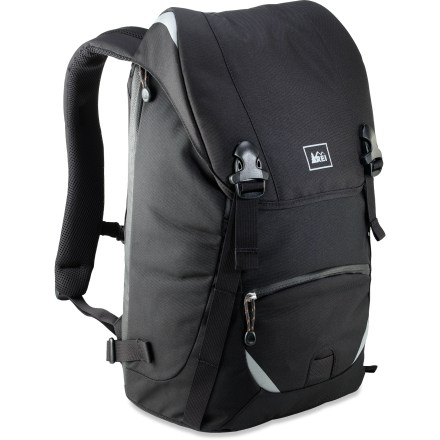 Entertainment The REI Quantum Messenger pack combines comfortable shoulder straps, padded laptop storage and durable fabric made from recycled materials to create an ideal bag for active commuters. 100% post-consumer recycled PET fabrics are tough enough to withstand the urban grind and soft enough to feel good doing it. Carries up to 14 in. laptop computer or 15 in. MacBook in fully padded pocket accessible through both top and side zippers. Large main compartment has enough space for your laptop, lunch and other office needs; additional storage available under the top flap with adjustable strap closure. Internal organizer includes pockets for pens, business cards and even a microfleece-lined pocket for your phone or MP3 player. Contoured technical-pack-style shoulder harness is easily adjustable and provides a great fit; adjustable waistbelt enhances load stability. Quantum Messenger daypack has an exterior zippered pocket and side mesh pocket with elastic closure offer quick access to small items. Ballistic nylon bottom panel is extremely durable and has foam padding to protect contents. Reflective trim creates great visibility for active commuters; webbing loop provides reliable attachment point for LED blinking light (sold separately). - $54.93