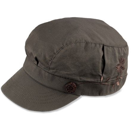 The REI Zion Cabbie hat offers a stylish look and solid comfort that you will love. Cotton exterior is lined with soft cotton for great comfort. 2.25 in. brim shades your eyes from the sun. Floral embroidery adds style. - $12.83