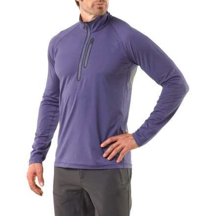 Camp and Hike The REI men's Venturi Quarter-Zip long-sleeve shirt delivers excellent performance on the trail. Even on the longest, most challenging days the Venturi ensures comfort to keep you going strong. Knit polyester/spandex blend provides 4-way stretch to enhance your comfort as you make your way down the trail. With a UPF 50+ rating, fabric provides excellent protection against harmful ultraviolet rays. Fabric wicks moisture, dries quickly and resists abrasion. Deep front zipper lets you adjust ventilation; collar is lined with soft, sweat-wicking polyester tricot. Raglan sleeves move freely and have no top seams to chafe under backpack straps. Mesh panels are discreetly bonded to the fabric under the arms for venting. Chest pocket with welded zipper lets you stash a few essentials. REI Venturi Quarter-Zip long-sleeve shirt has an active fit that provides full range of motion. - $39.93