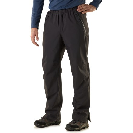 Camp and Hike The men's REI Kimtah 30 in. pants are an awesome choice for spring and summer backpacking adventures. They offer protection for activities where windy, wet weather is a concern. eVent(R) fabric has a unique membrane structure that allows sweat vapor to quickly escape to the outside of the fabric. No matter how hard you work, overheating is unlikely due to this Direct Venting(TM) technology. And because you remain dry on the inside, the likelihood of an uncomfortable, post-exercise chill is eliminated. All seams are sealed for complete waterproof protection. Windproof to 60 mph. Fabric is reinforced at backside to increase durability. Drawcord waistband supplies a personalized fit. Knee darts shape pant legs for a non-binding, comfortable range of motion. Lower legs have water-resistant zipper openings for easy on/off. Hem drawcords cinch down securely over boots; gaiter grommets allow you to add your own instep cords. 2 zip hand pockets and 1 back zip pocket. REI Kimtah pants have an active fit that allows a full range of motion and enhances performance. - $131.93
