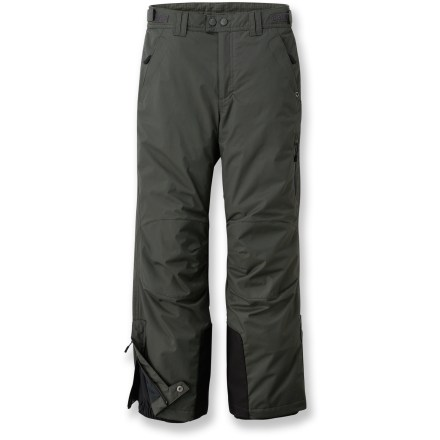 Ski The windproof and water-resistant REI Timber Mountain pants for boys are lined with fleece to keep them warm and dry. Coated nylon shell with Durable Water Repellent treatment repels water and wind; polyester fleece lining keeps kids warm. Reinforced, articulated knees offer full range of motion and enhanced abrasion resistance. Features zippered, tricot-lined handwarmer pockets and a left leg pocket with a water-resistant zipper. Waist adjusts with rip-and-stick tabs at sides; front features zipper fly. Snow gaiters on lower legs keep cold out, warmth in. - $47.93