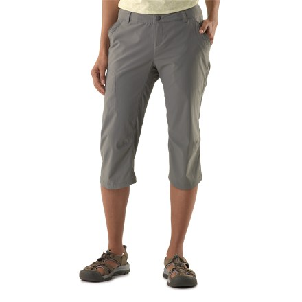 Camp and Hike The plus-size REI Stretch capris are ready for the trail, the train and even concerts in the park-they have plenty of stretch for loads of comfort. Lightweight, 2-way stretch fabric keeps you cool, and is quick drying and easy to pack; fabric provides UPF 50+ sun protection. Fixed waist, zip fly and belt loops; internal elastic/button adjustment personalizes the fit. Full crotch gusset prevents chafing and maximizes mobility. Shaped hems ease the fit and add style. Front angled pockets, back pockets with rip-and-stick closure and concealed zip thigh pocket. REI Stretch capris have a classic, easy-wearing fit. - $36.99