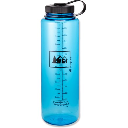 Camp and Hike You won't go thirsty with the large-capacity 48 fl. oz. REI Nalgene Wide-Mouth Loop-Top water bottle stashed in your pack. Made of Eastman Tritan(TM) copolyester, the bottle is completely BPA-free and is dishwasher safe (top rack only). Tritan(TM) copolyester provides excellent impact resistance and is suitable for both warm and cold beverages. Wide mouth makes it easy to fill without spilling. Convenient loop-top design means you'll never lose the lid. Please note: not recommended for usage in oven or microwave. - $10.95