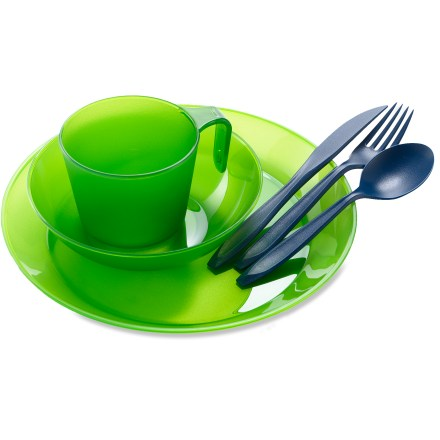 Camp and Hike A complete place setting for 1 person, the REI Campware Table set includes a cup, plate, bowl, knife, spoon and fork. - $13.50